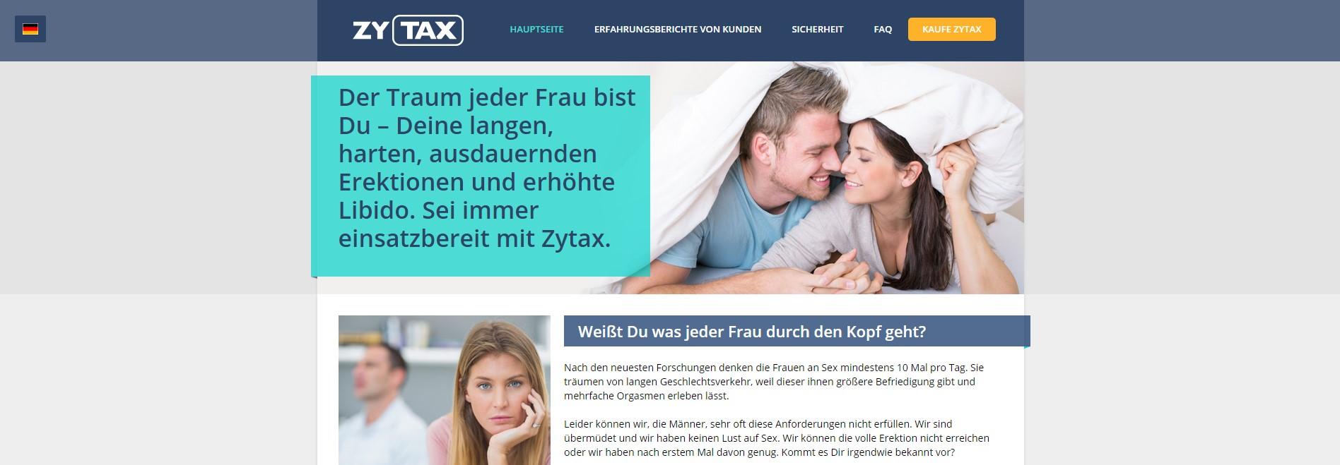 Die Zytax Homepage auf Deutsch